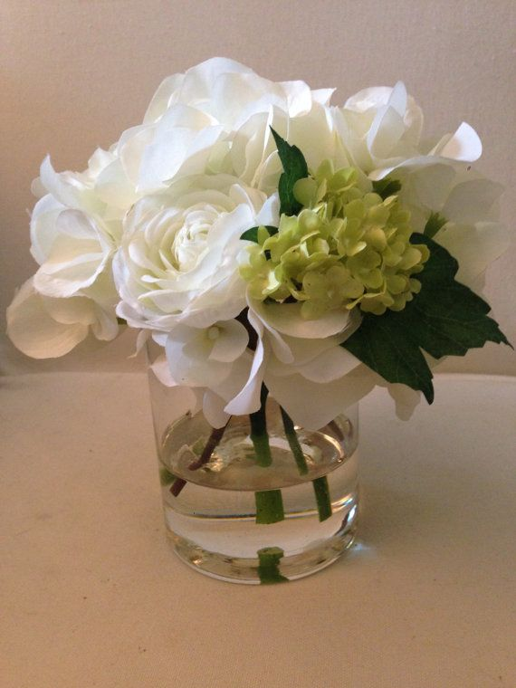 Faux Flower Arrangements In Acrylic Water Hydrangea Viburnum