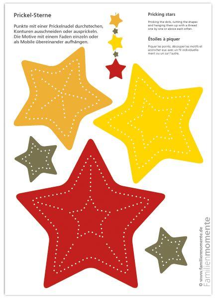 Prickel Sterne   Bastelbogen Zum Prickeln Mit Weihnachtlichen Sternen Als  Anhänger, Girlande Oder Mobile