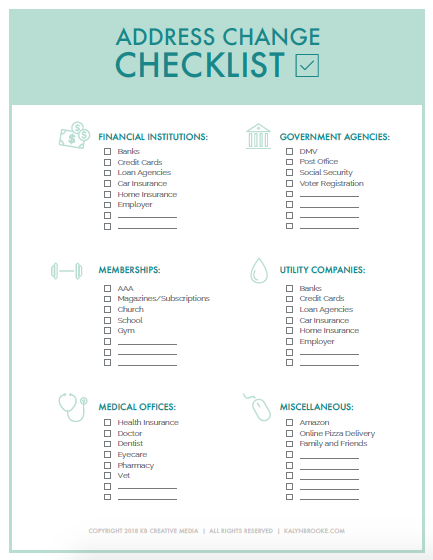 Keep This List Handy For Your Next Move New Home Checklist Change Of Address Moving Day