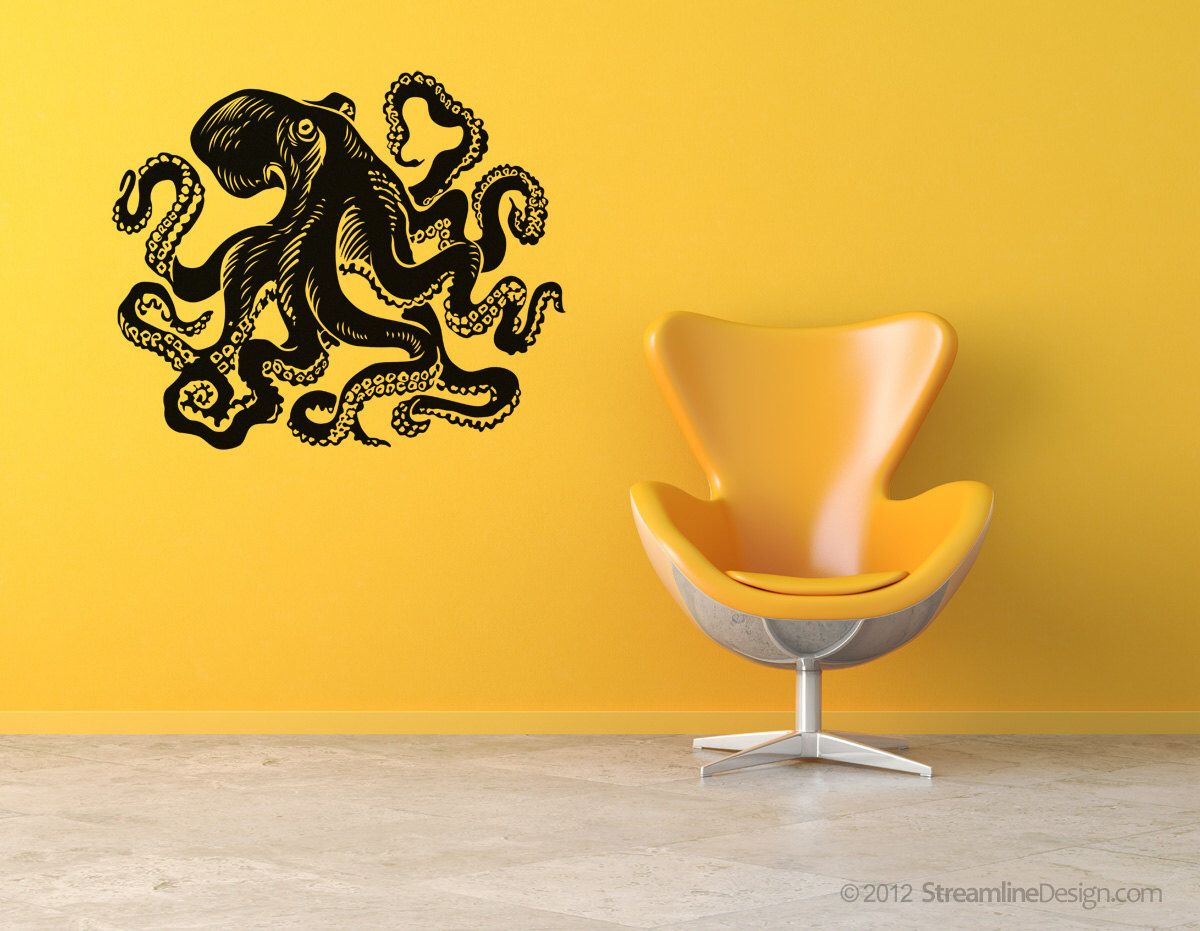 Giant octopus vinyl wall art. 54 inches wide Removable Vinyl Wall ...