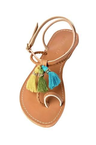 Bright colored detailing! Handcrafted sandals made in India