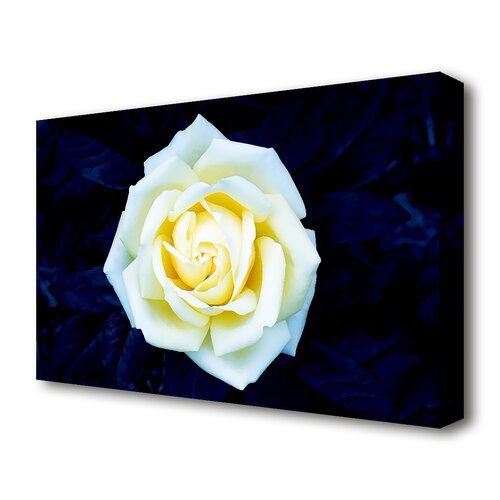 Yellow Rose On Blue Leaves Flowers Canvas Print Wall Art East Urban Home Size 81 3 Cm H X 121 9 Cm W Flower Canvas Wall Art Prints Canvas Pictures