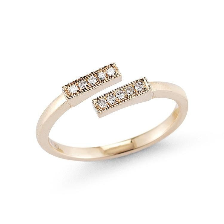 SYLVIE ROSE: Rose Gold Open Diamond Bar Ring