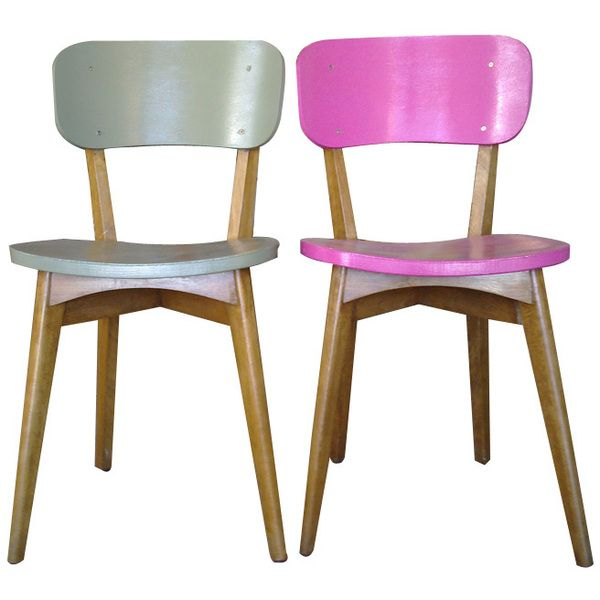 Chaise pour salle à manger ou cuisine Bois peint en kaki et rose