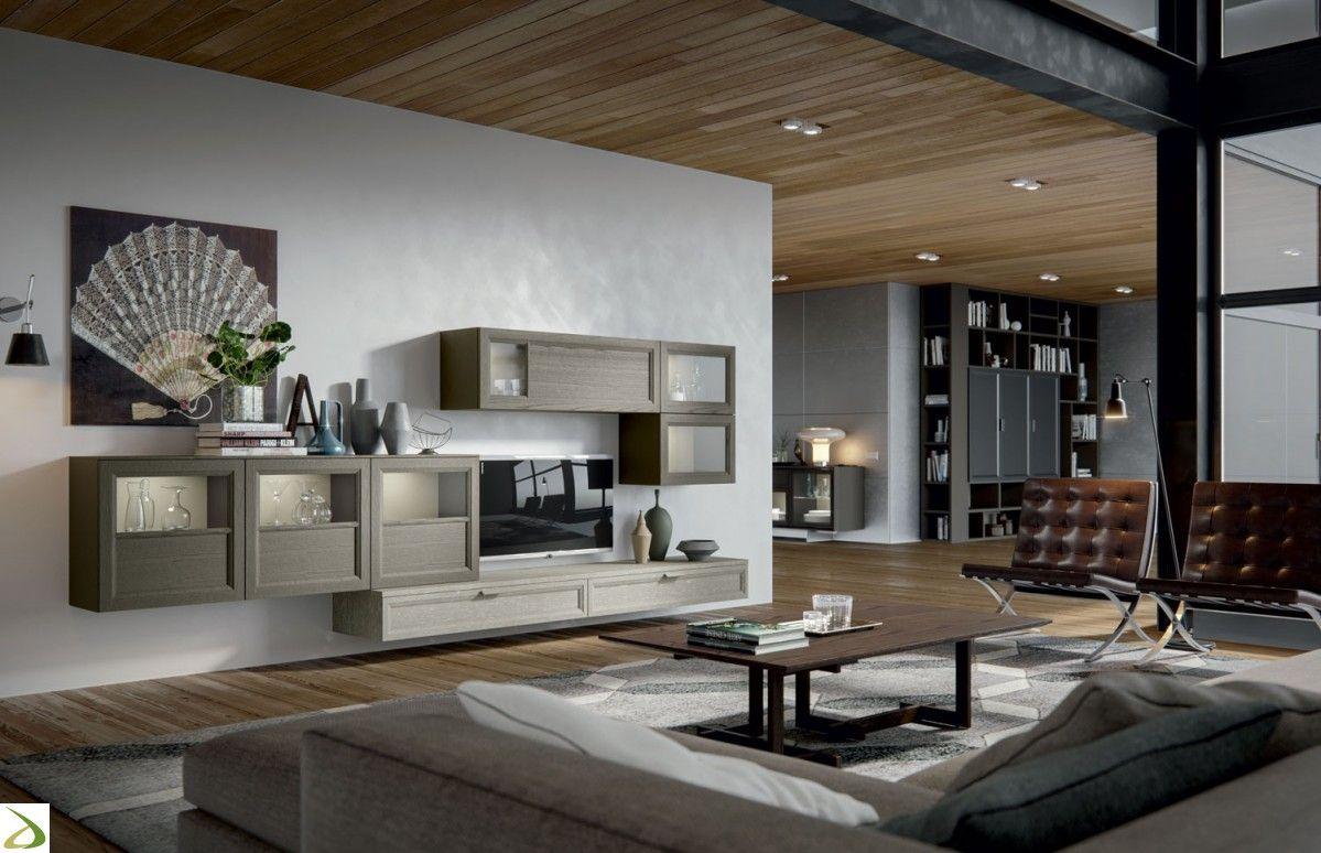 Parete soggiorno sospesa di design in legno massello ...
