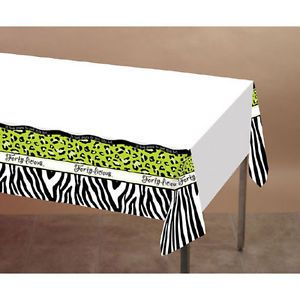 Fifty-Licious Leopard Zebra Animal Print 50th Birthday Party Plastic Tablecover