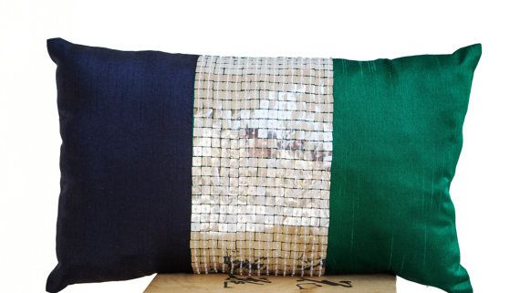 Throw Pillow Emerald Green Navy Blue Silver Color By