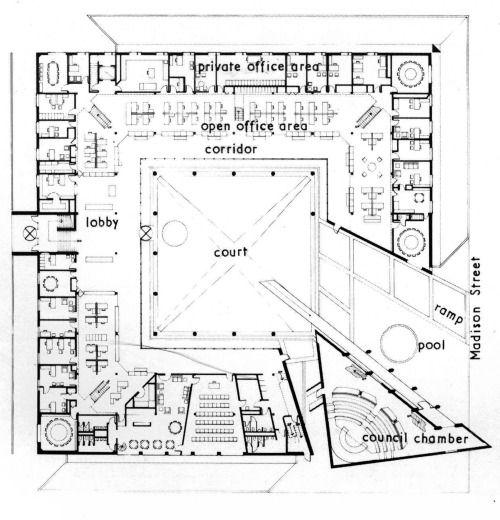 Harry Weese, Village Hall, Floor Plan, Oak Park, Illinois, 1971-1974