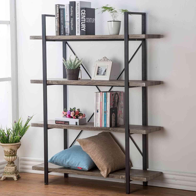 HSH Furniture 4 Shelf Rustic Bookshelf, Vintage Industrial Wood And Metal  Display Bookcase, Dark Oak