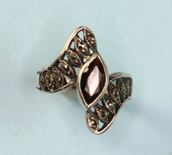 Sterling Ring Marcasite and Simulated Garnet by PastSplendors, $34.00