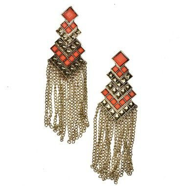 Ibero Peru Collection earrings. Ibero Peru malliston korvakorut, joissa oranssit yksityiskohdat. http://www.ibero.fi/korvakorut/kaulakorut/pitkat-korvakorut/