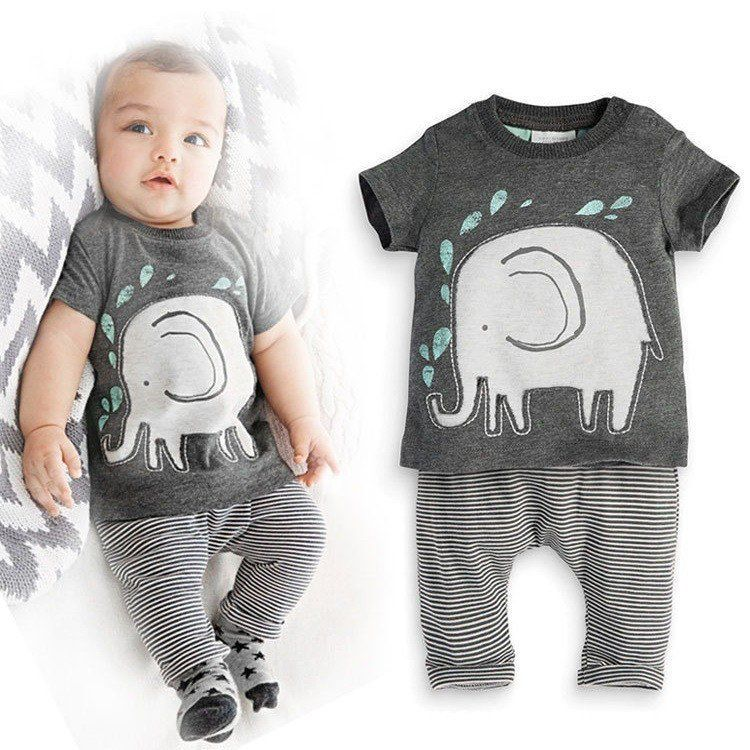Grey 2-Piece Cute Elephant Baby Set