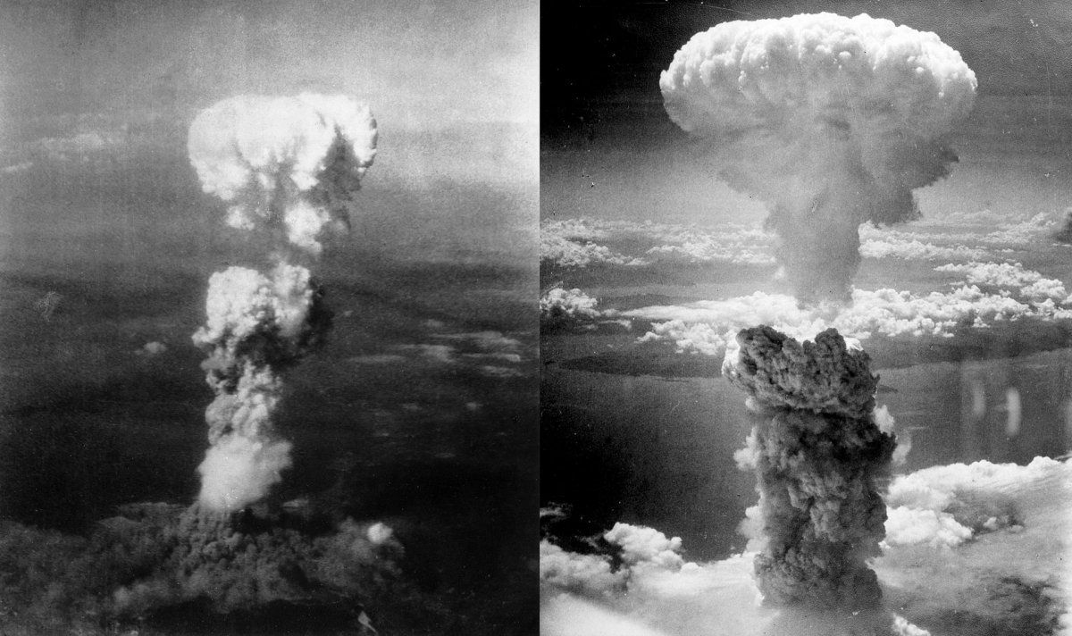Vista aérea de Little Boy (à esquerda) e Fat Man (à direita) sobre Hiroshima e Nagasaki, respectivamente