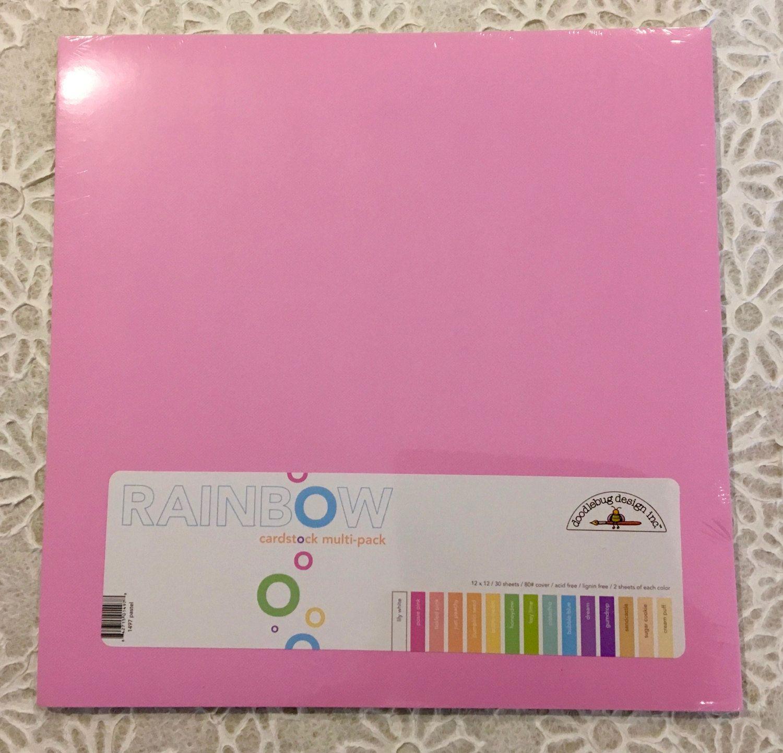 Multi colored cardstock paper - Doodlebug 12 X12 Rainbow Cardstock Multi Pack Pastel 30 Pkg