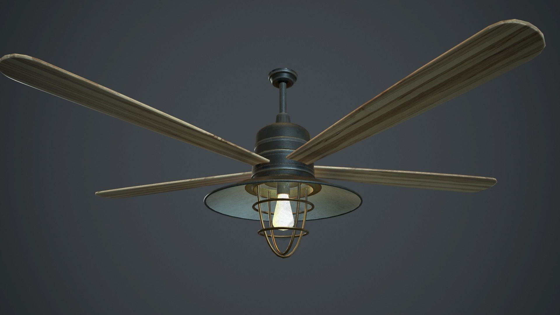 Retro Ceiling Fan With Lamp Pbr Gamre Ready 3d Model Retro Ceiling Fans Ceiling Fan Lamp