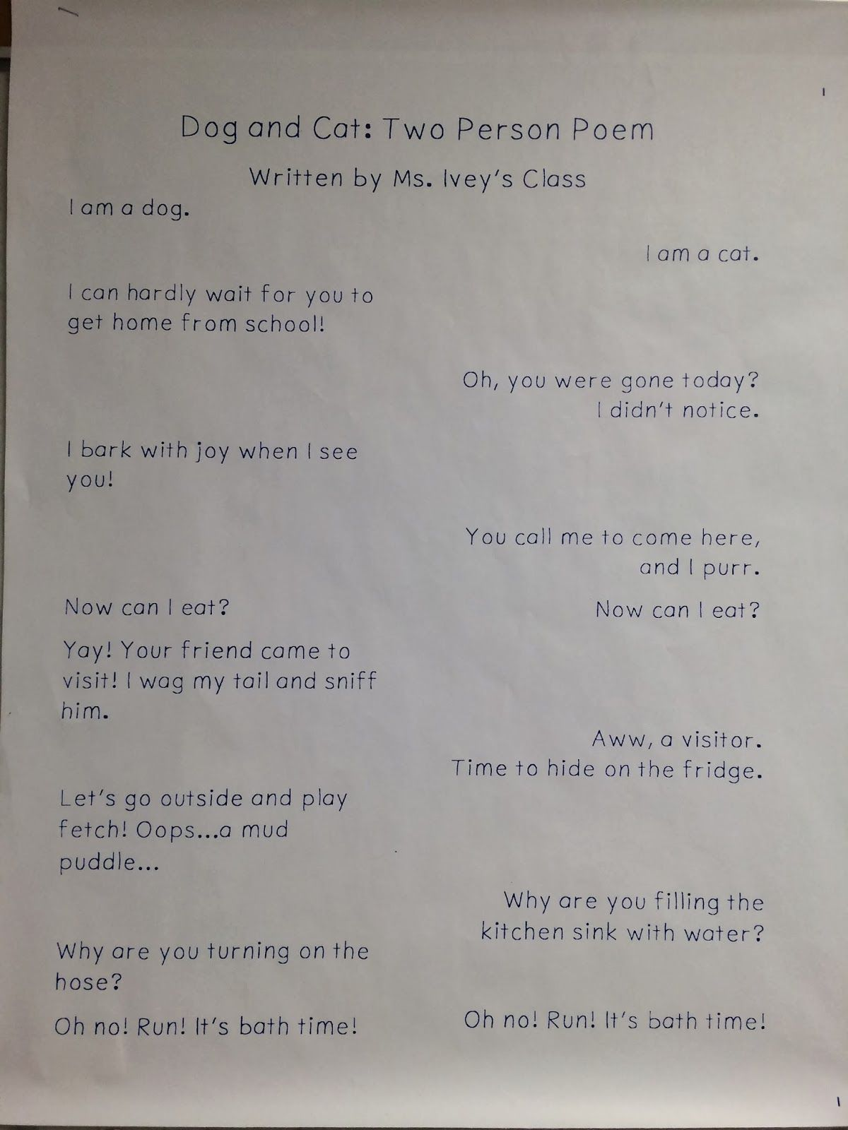 This teacher is using two voice poems