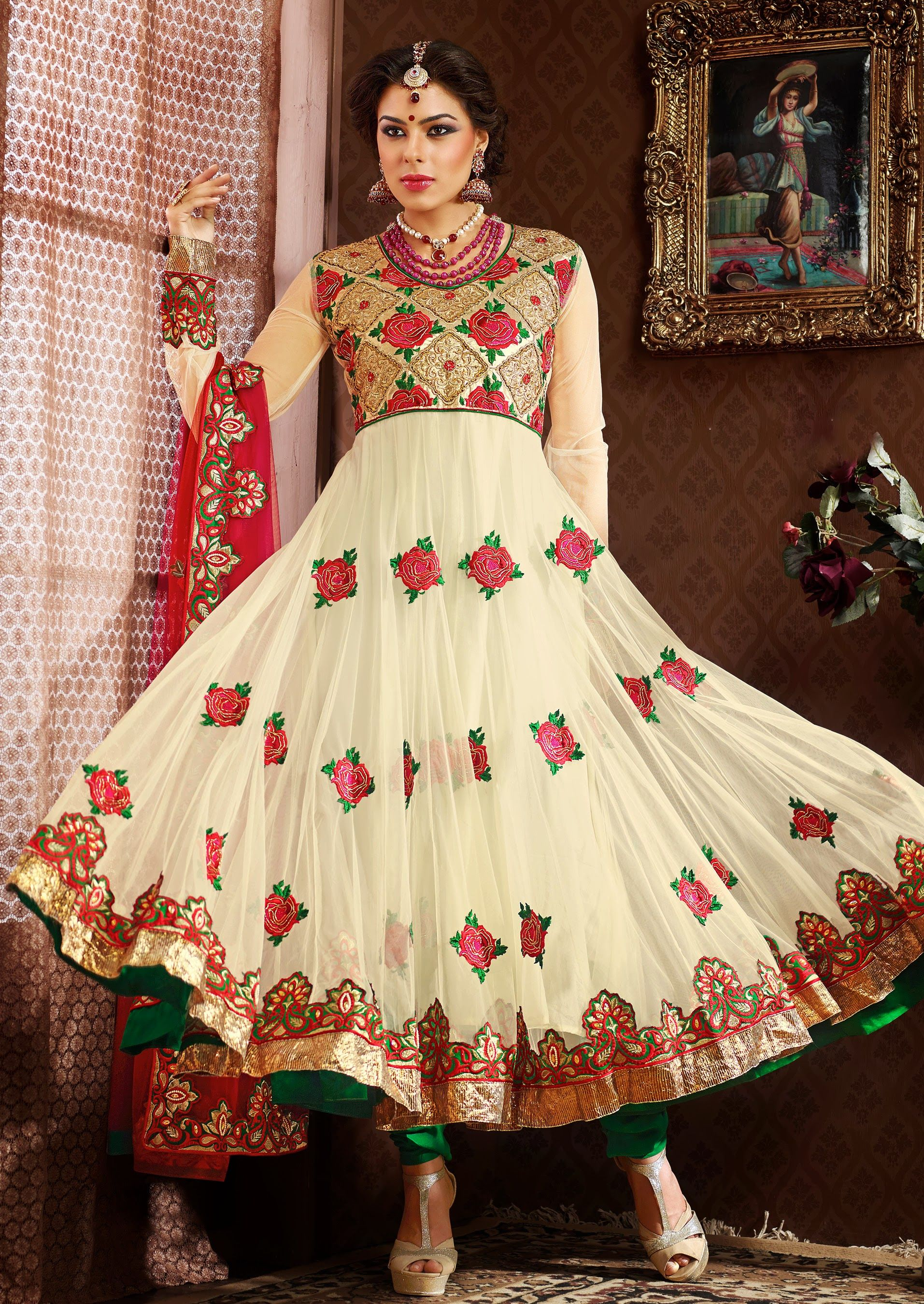 86bcead9f0 Design no> 1010 Price: 150 USD including free Delivery and stitching Color:  Kameez .... Cream Bottom.... Green Dupatta......Pink and Marron Fabric:  Kameez.