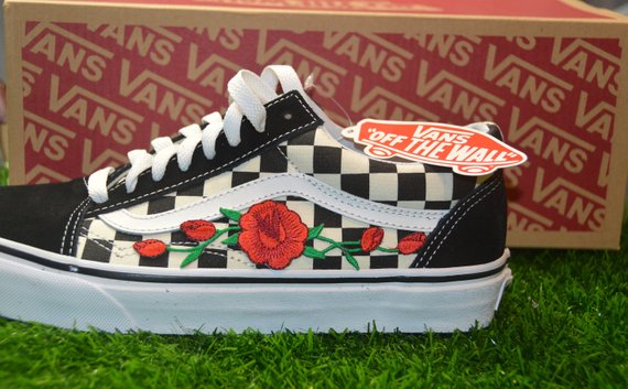 13cfbaa7215b Custom Vans Primary Checkered Old Skool Black White Rose Embroidered Iron  On Shoes Sneakers