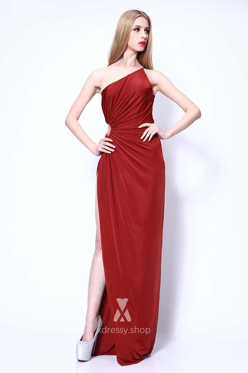 Single strap burgundy prom dress with side thigh high slit and side