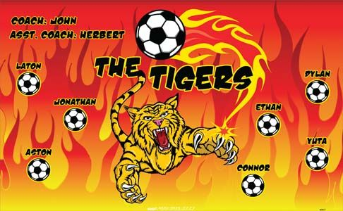 Tigers-40857 digitally printed vinyl soccer sports team banner. Made in the USA and shipped fast by BannersUSA. www.bannersusa.com