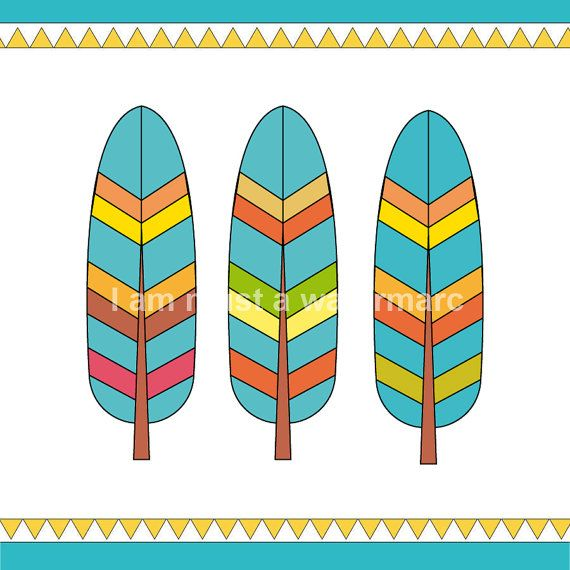 Printable Feathers  Retro Colors Clipart each A4 for by ohhcolor, €2.40