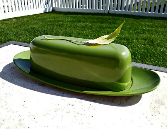 Vintage Melmac Butter Dish  Avocado Green by DollFood on Etsy, $11.95