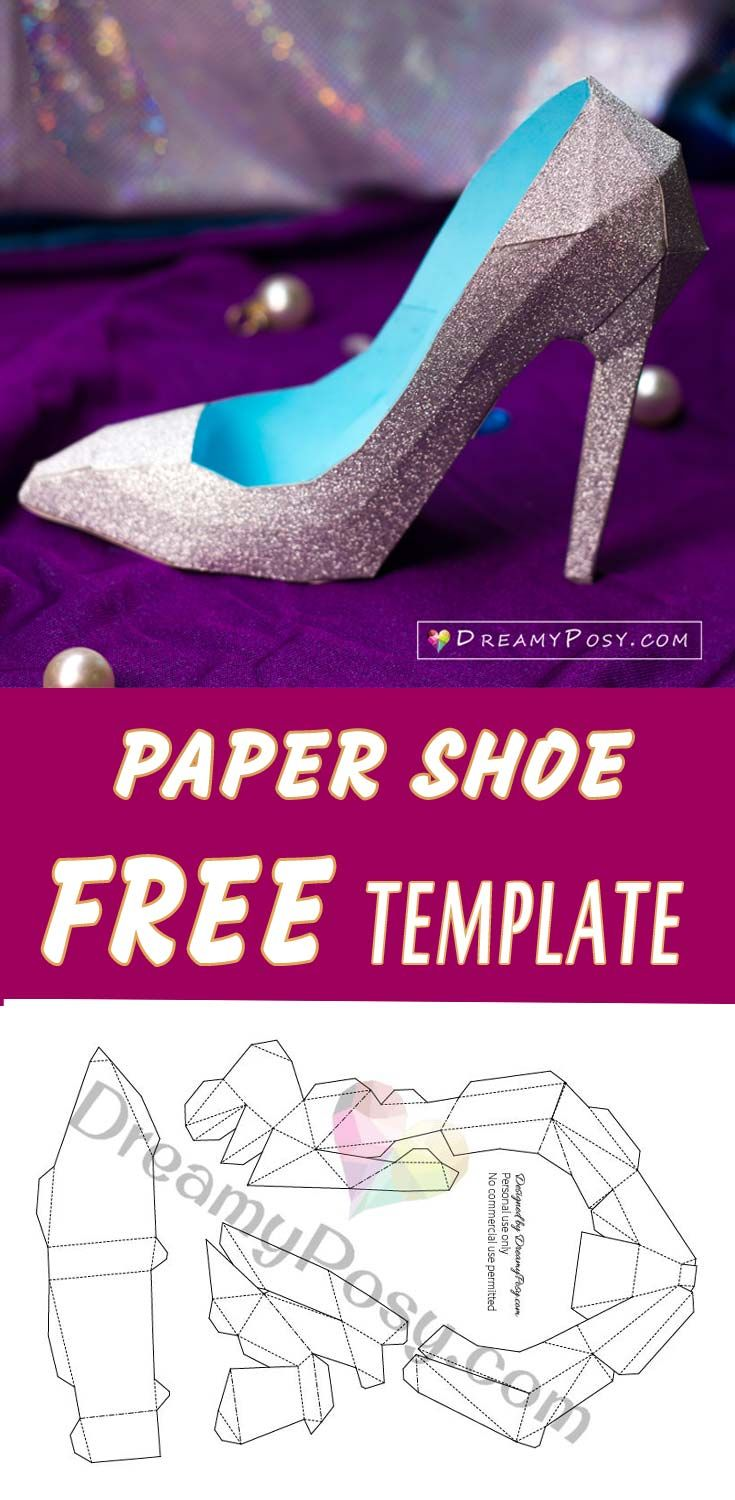 How To Make 3d Paper Shoe As A Gift Box Free Template Valentines