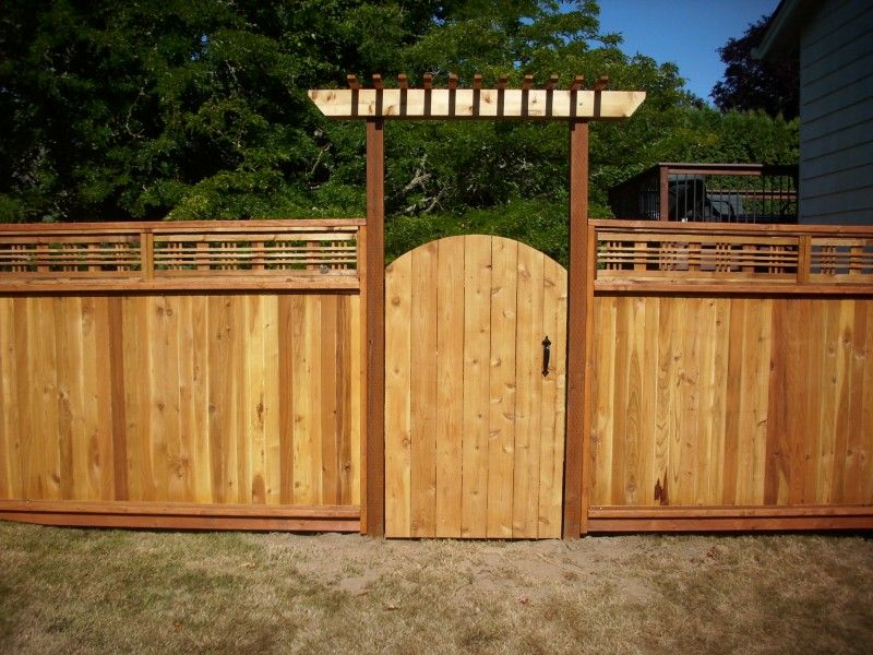 Japanese lattice top fence cedar gate with arbor deck for Fence with arbor
