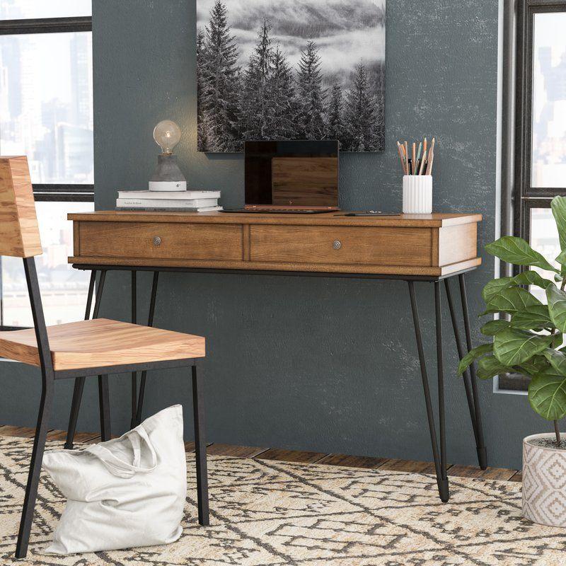Nikolai Metal and Distressed Wood Writing Desk (With