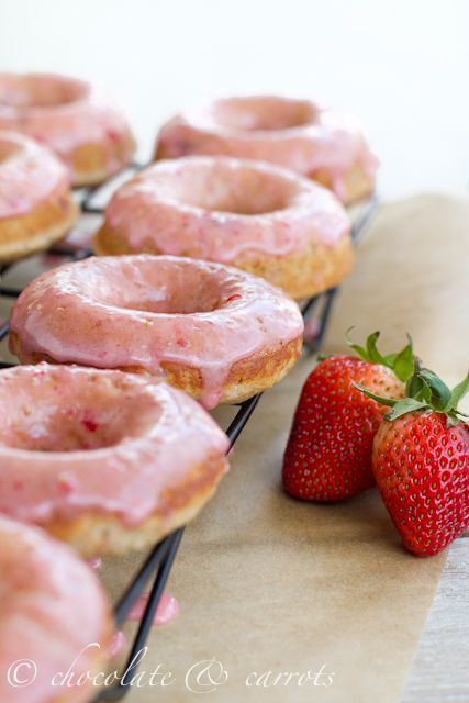 Whole grain Strawberry donuts. Baked. Donuts. Strawberry and healthy (whole grain, sha). Donuts. Might as well christen the donut pan!