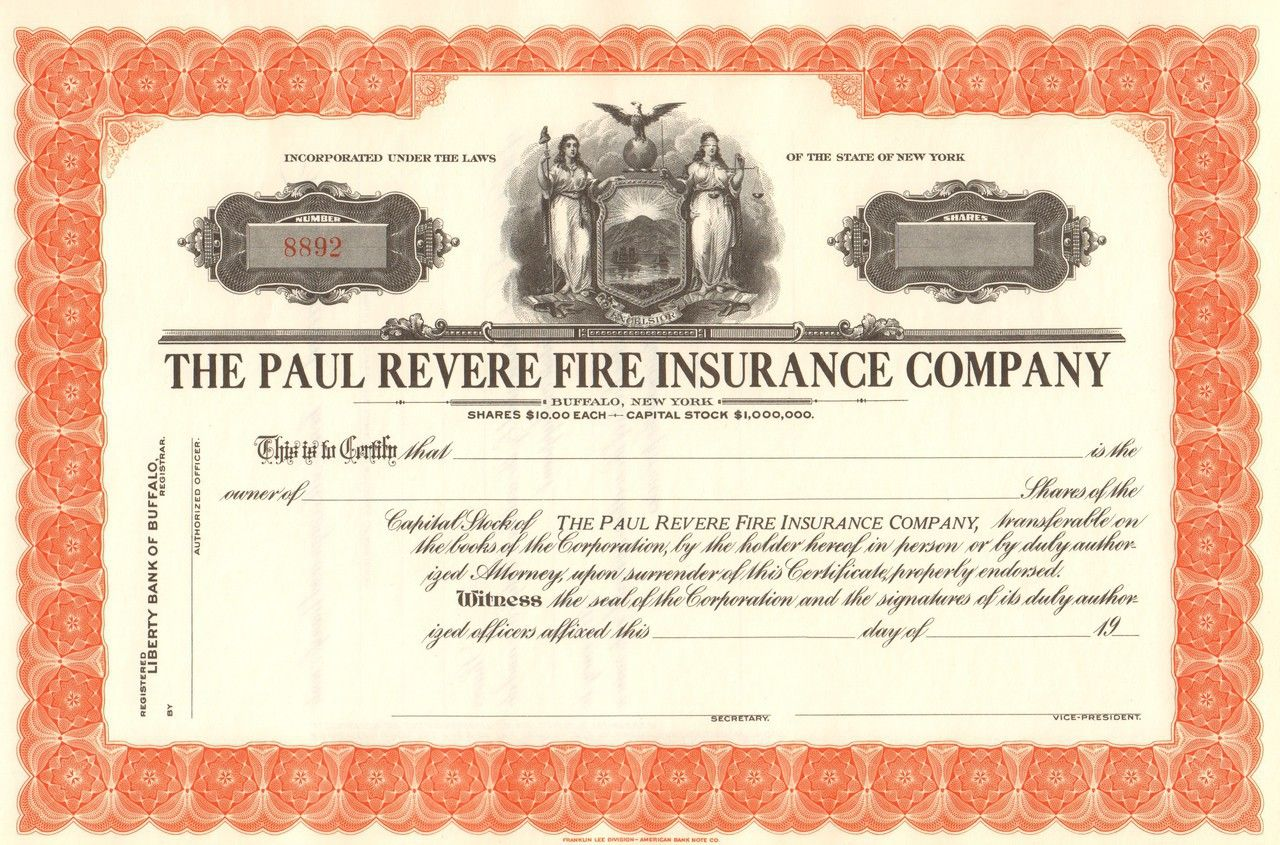 Paul Revere Fire Insurance Company C1930 With Images Stock
