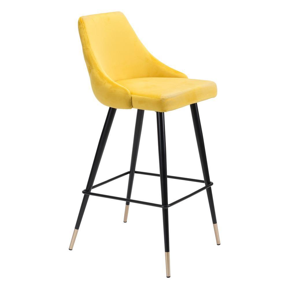 ZUO Piccolo 40.6 in. Yellow Velvet Bar Chair 101099 Bar