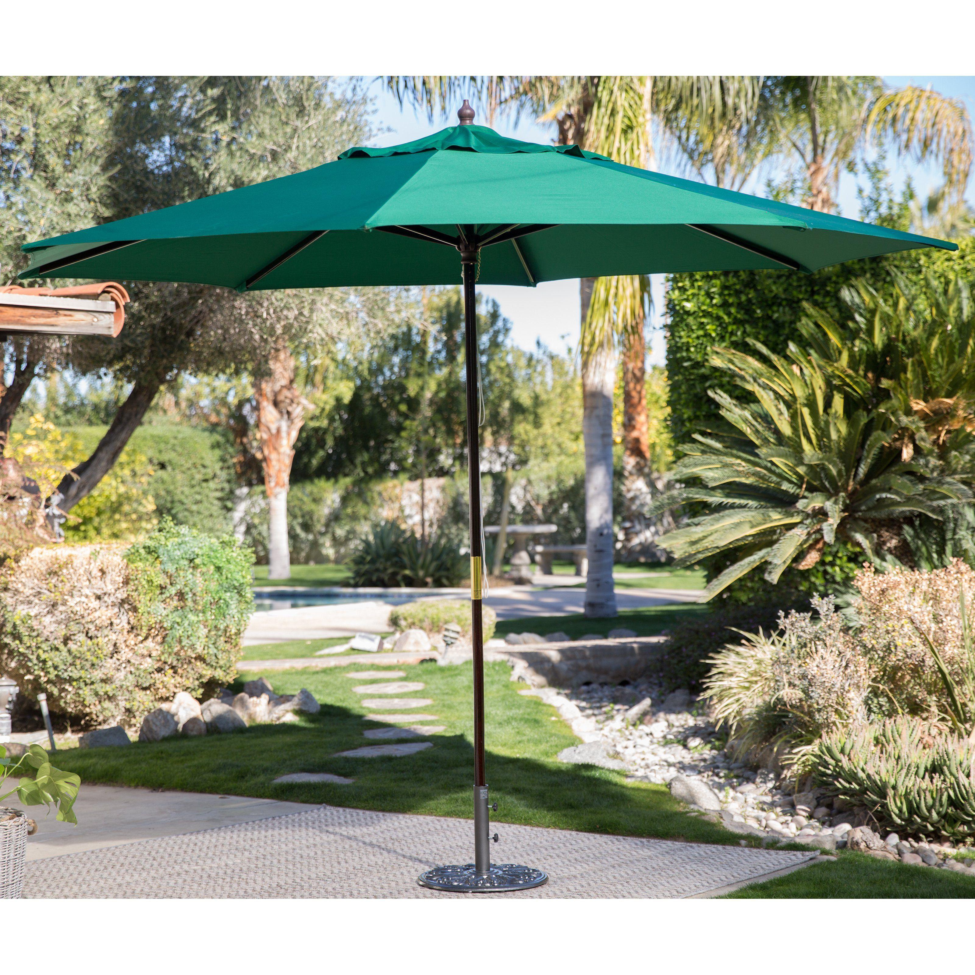 Spun Poly Wood Market Umbrella From