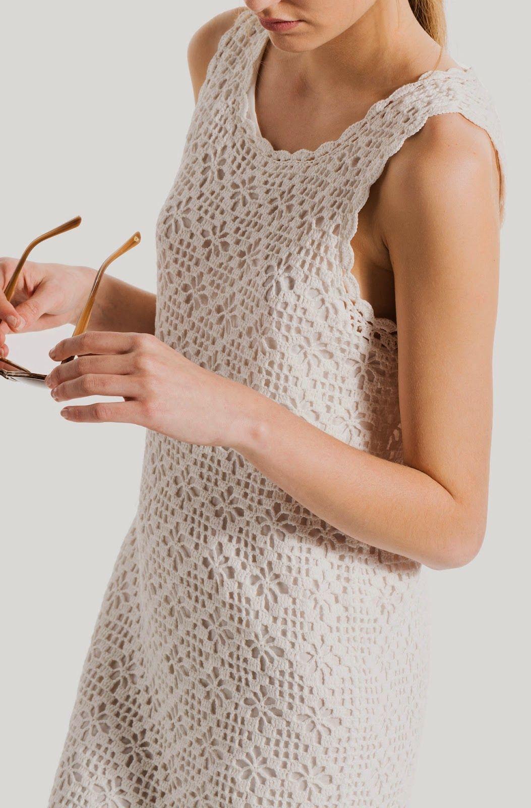 Vestido Tubinho Com Ponto Aranha   Tops de crochê   Pinterest ...