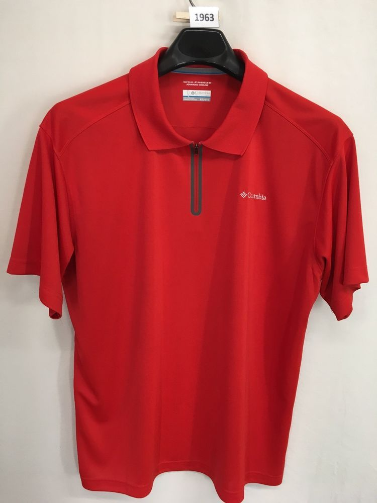 c2f1fe671ac52b MENS 2XL XXL COLUMBIA OMNI-FREEZE POLO SHIRT RED 1/2-ZIP OUTDOOR LOOKS NEW  #Columbia #PoloShirt
