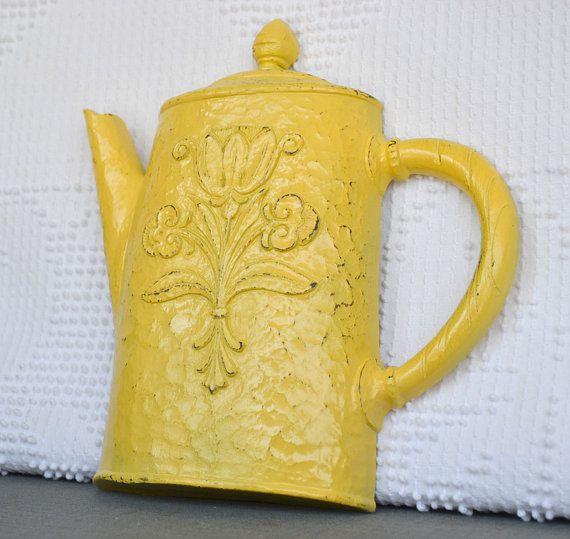 Yellow Teapot Vintage Dart Syroco Resin Wall Hanging Shabby Chic Country Cottage Yellow Grey White Kitchen Decor Wall Tea Pots Vintage Yellow Teapot Tea Pots