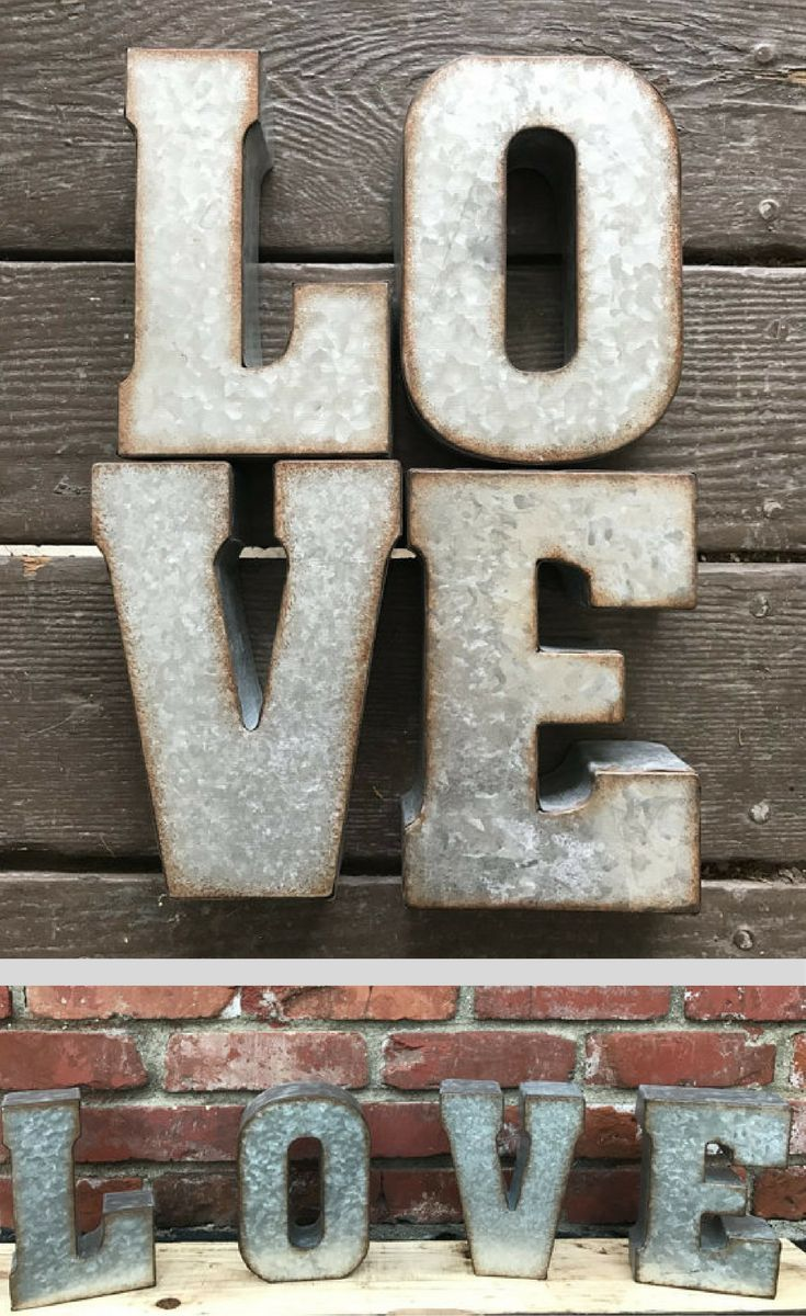 Wood & Galvanized Metal Letter Love Sign Individual Galvanized Letters Metal Letters Rustic