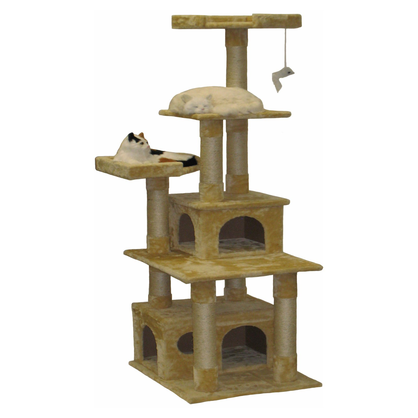 go pet club 67 in beige double condo house cat tree products in rh pinterest com
