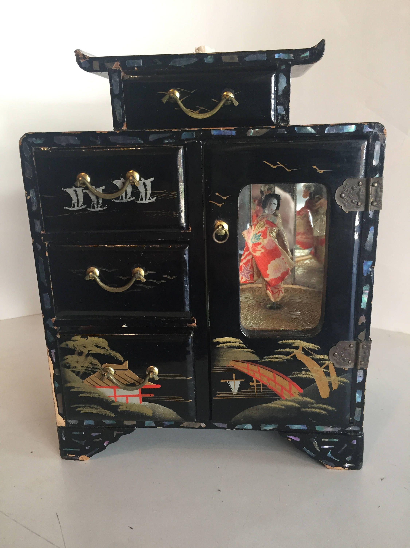 Japanese Musical Box : japanese, musical, Vintage, Musical, Jewelry, Japanese, Dancing, Geisha, Antique, Music