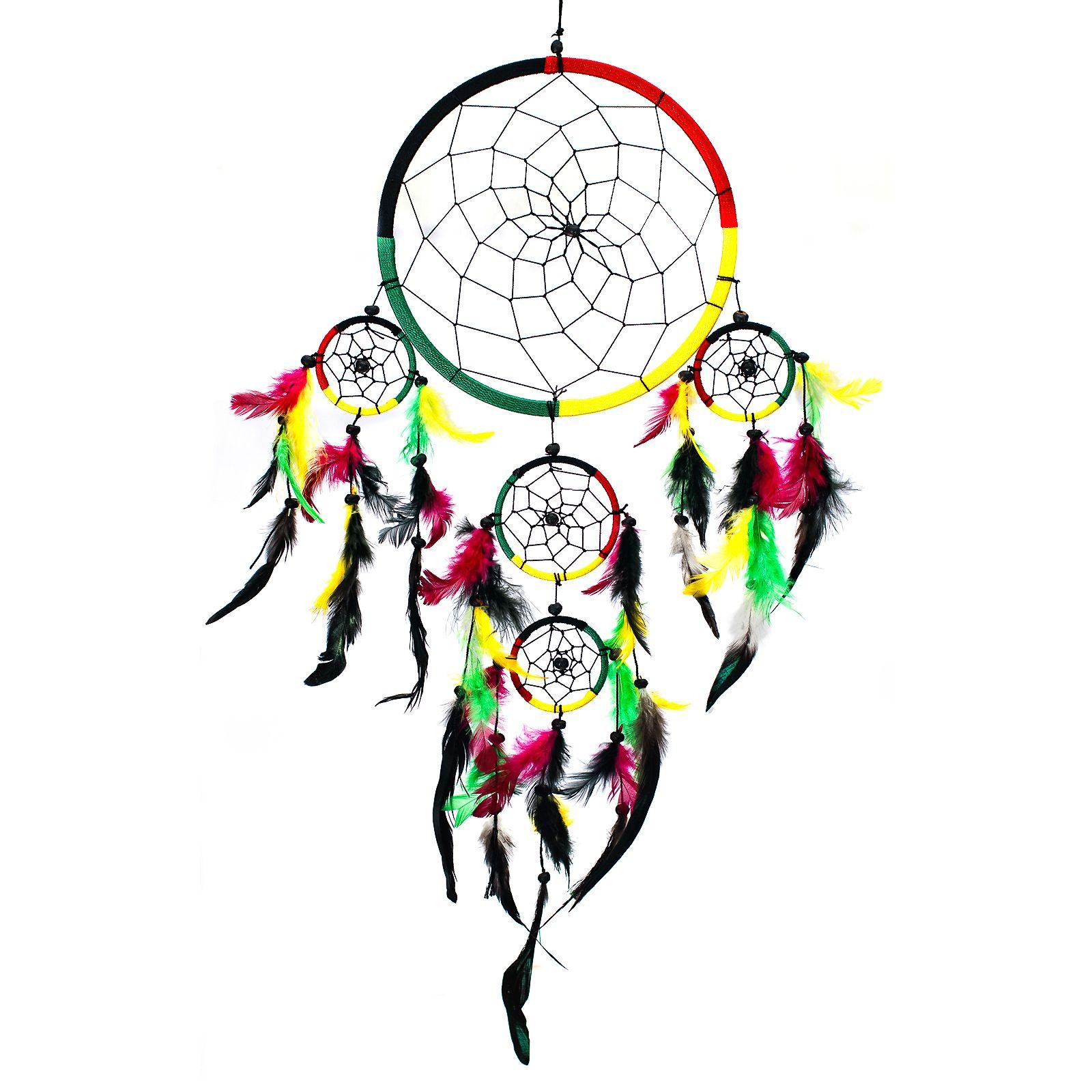 Color art dreamcatcher - Dream Catcher Traditional Shape Rasta 4 Color Black Green Red Yellow