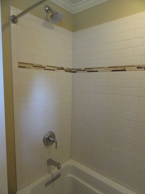 Custom Tile Shower With Accent Matching The Floor Master Bath Shower Shower Tile Custom Tile Shower