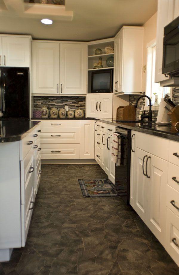white kitchen/black appliances new kitchen ideas Pinterest