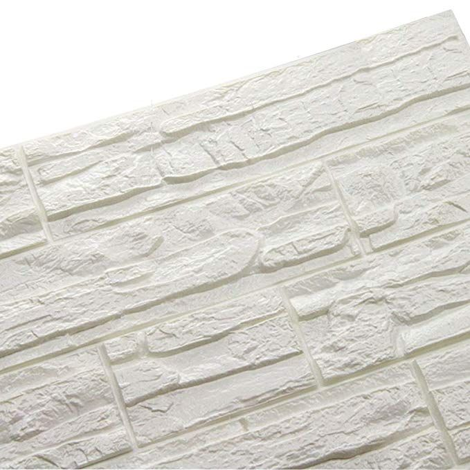 Adhesive Whiite Faux Brick Panels In Accent Wall: Amazon.com: Doremy 3D Brick Pattern Wall Panels Stickers