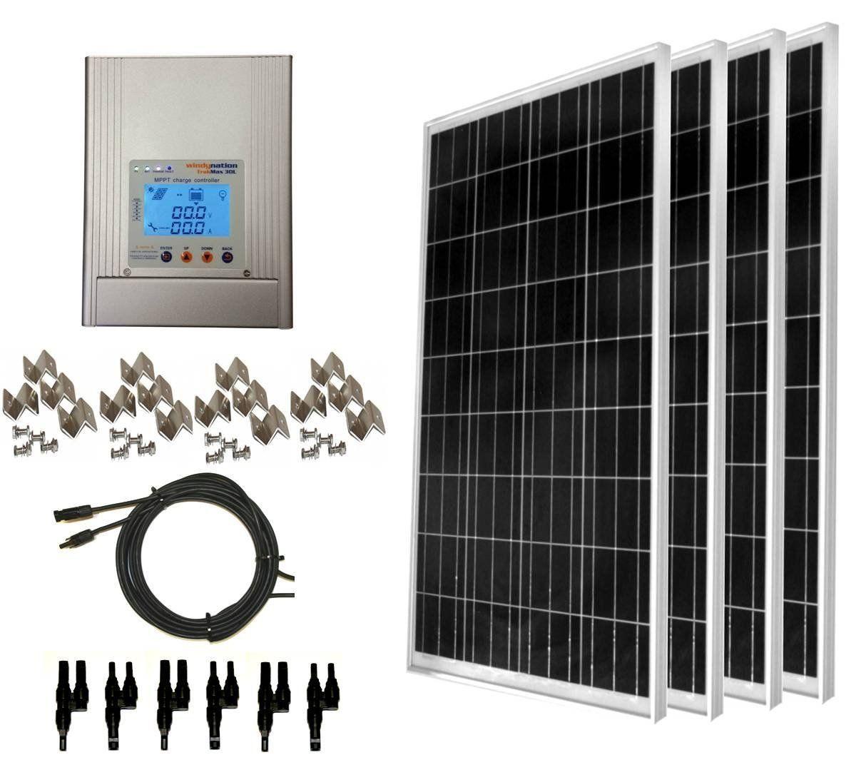 Amazon Com Windynation 400 Watt 4pcs 100w Solar Panel Kit With Mppt Trakmax 30l Charge Controller Compl Solar Panel Kits Solar Panel Installation Solar Kit