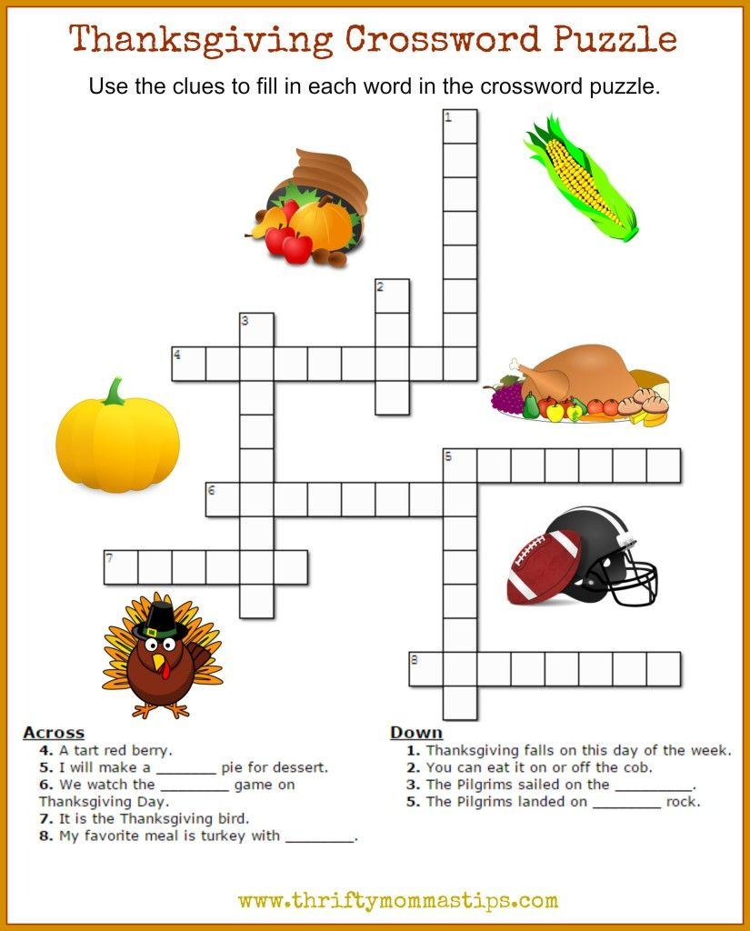 Thanksgiving Crossword Puzzle Printable Thanksgiving Crossword
