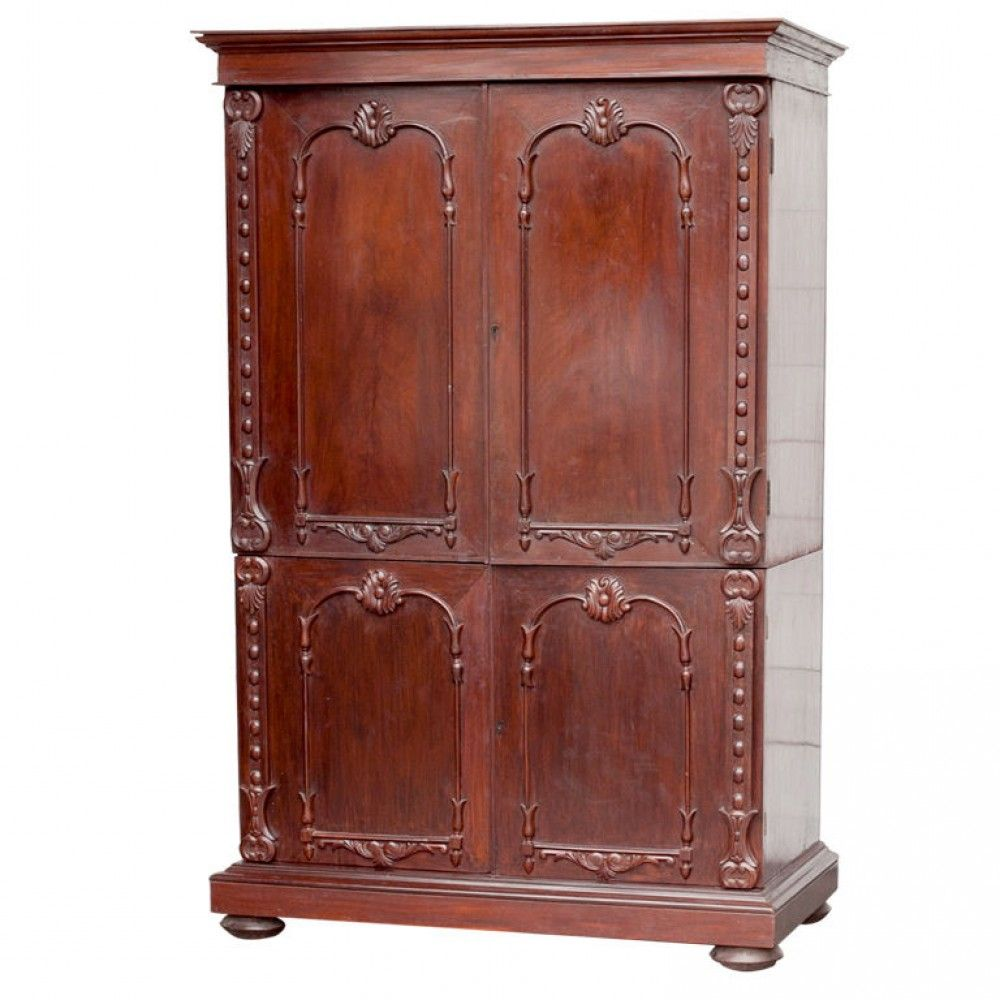 Anglo Indian Solid Mahogany Linen Press With Applied Carving Mahogany Linen Press Solid Mahogany Linen Press
