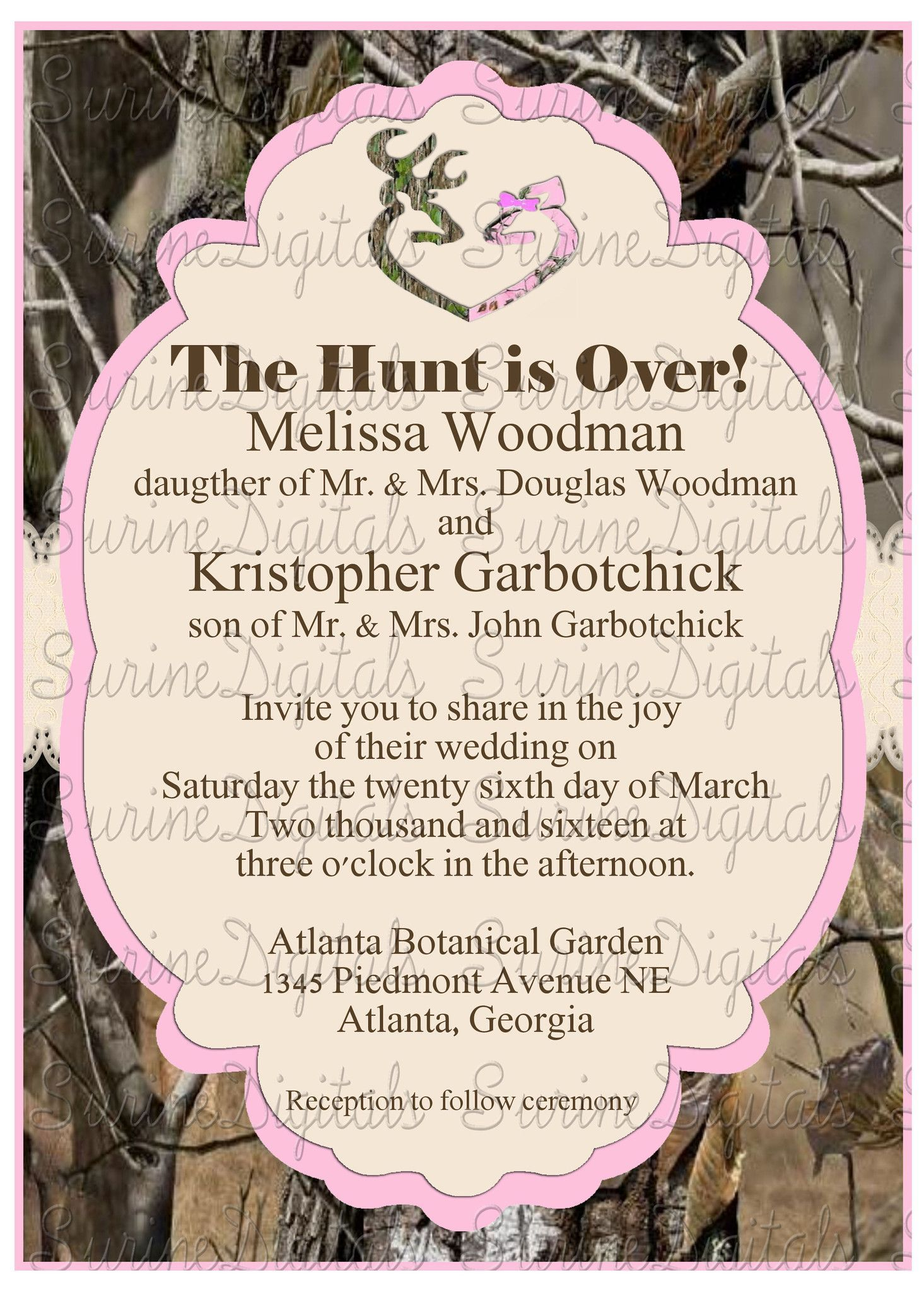 Pink and Camo Wedding Invitation with Buck and Doe Heart Hunting