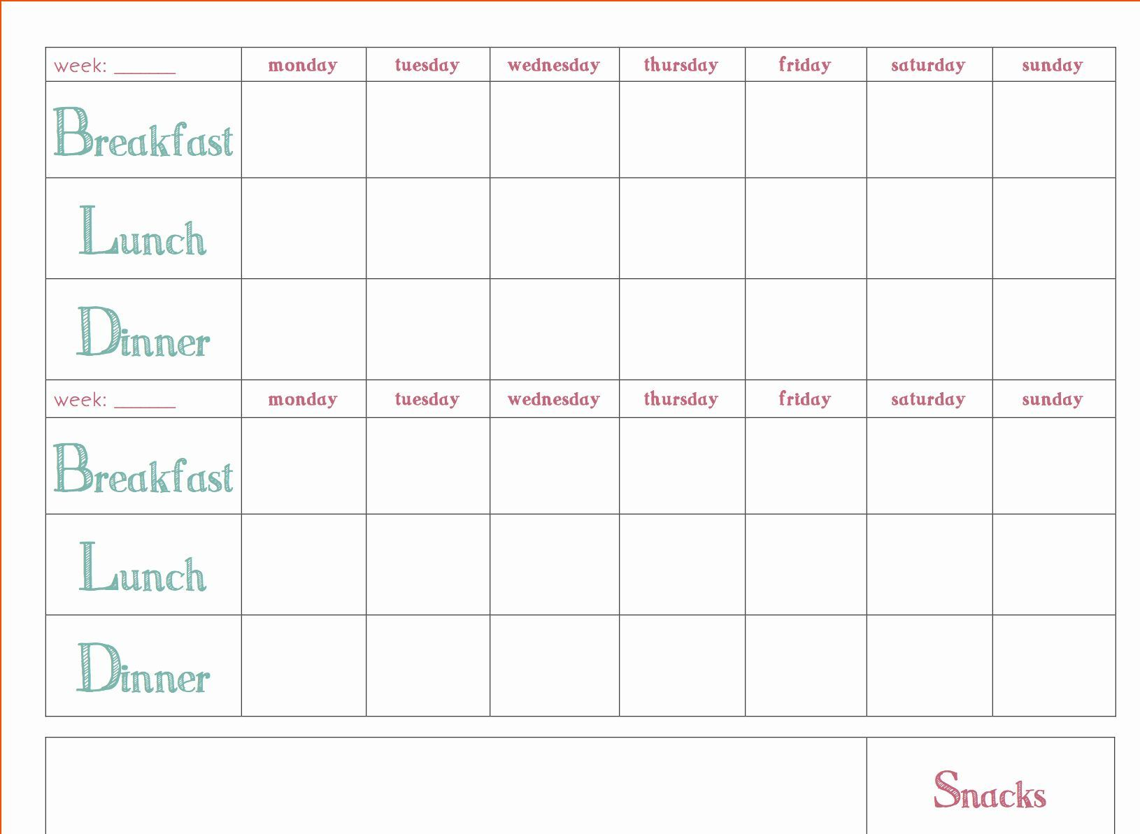 Meal Plan Template Word Unique Free Download Weekly Meal