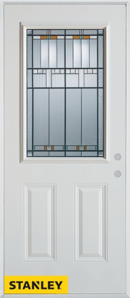 35 375 Inch X 82 375 Inch Chicago Patina 1 2 Lite 2 Panel Prefinished White Left Hand Inswing Steel Prehung Front Door Energy Star Door Glass Inserts Entry Doors With Glass White Paneling