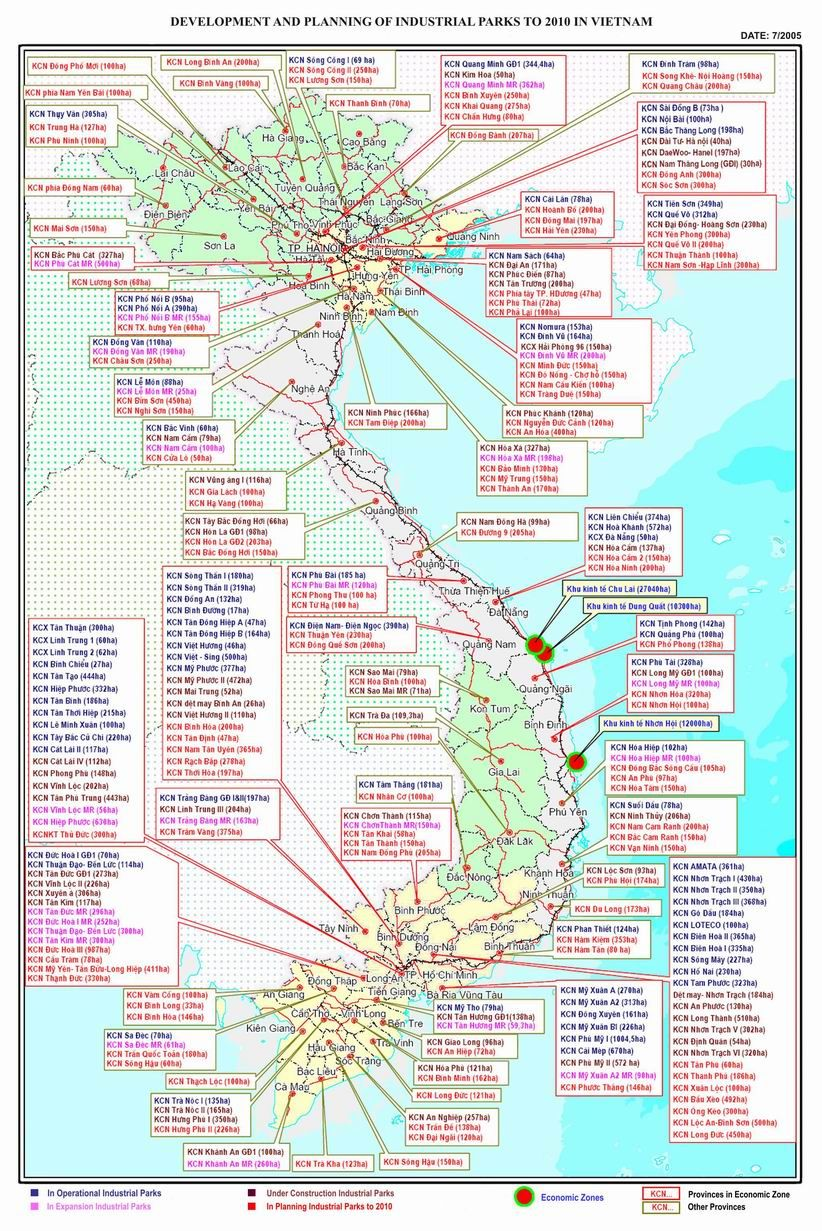 Map of industrial parks in Vietnam | packing list